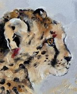 Impressionist painting of cheetah cub