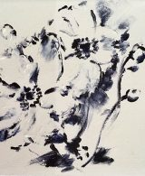 Abstract Black and white painting of Japanese Anemones